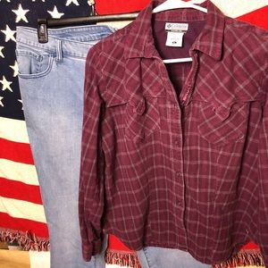 Columbia Shirt Women XL Maroon Plaid Button Cotton